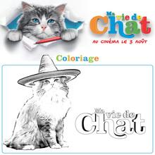 Coloriage du chat avec son chapeau