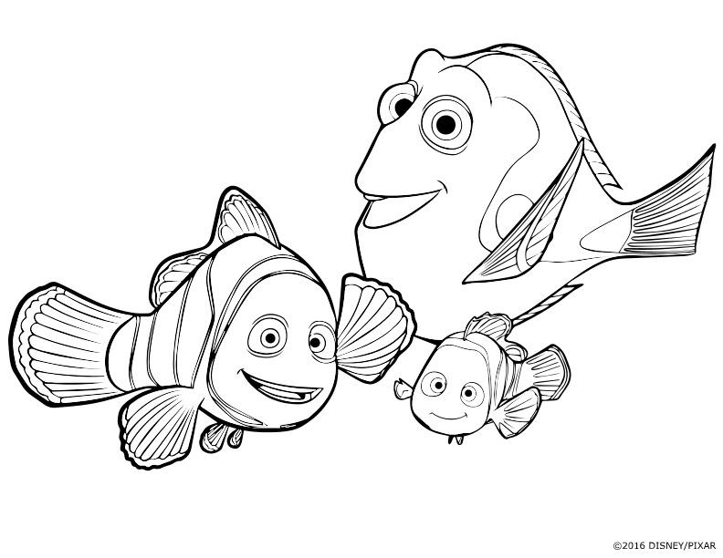 Coloriage : Dory, Marin et Némo
