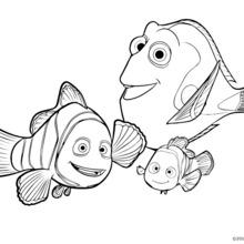 Coloriage Disney : Dory, Marin et Némo