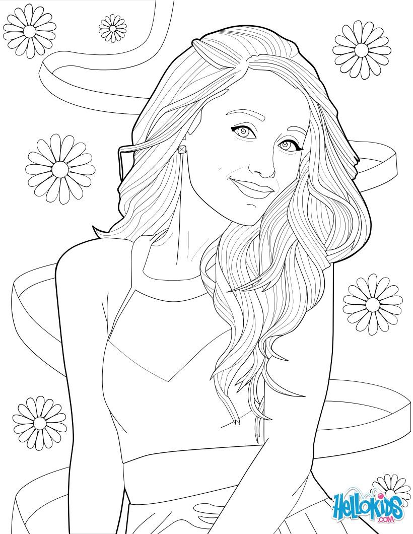 Coloriage Les Fleurs et Ariana Grande