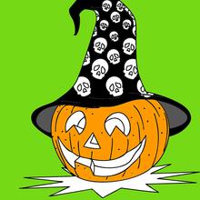 Coloriage d'une citrouille avec un chapeau de sorcière