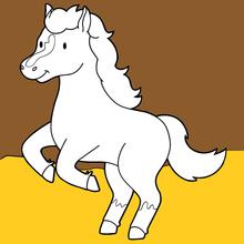 Coloriage : Cheval dans la grange