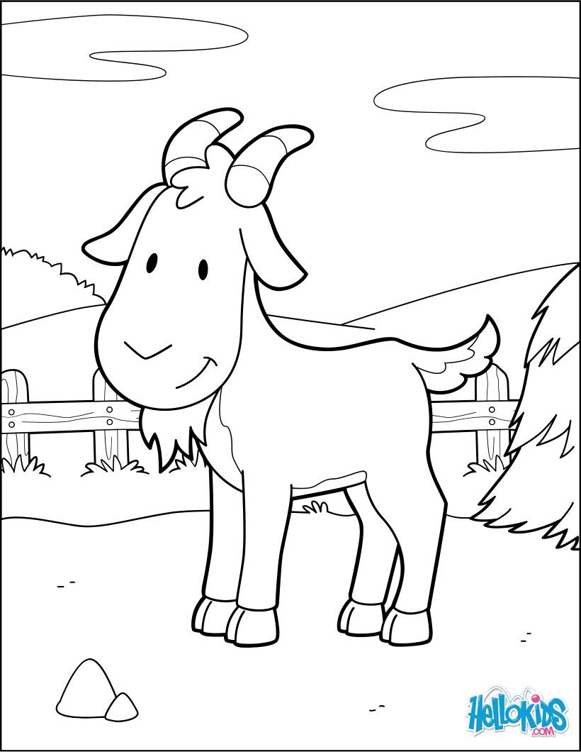 Coloriage : Chèvre à la basse-cour