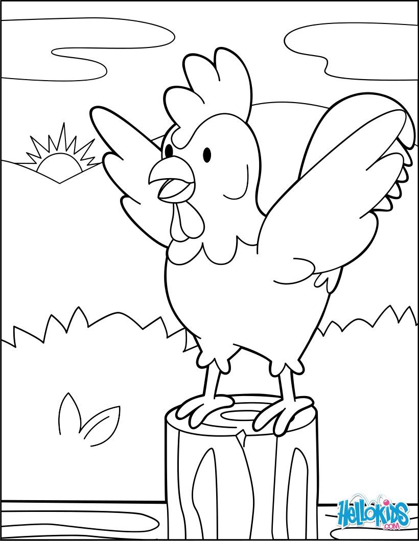 Coloriage : Coq à l'aube