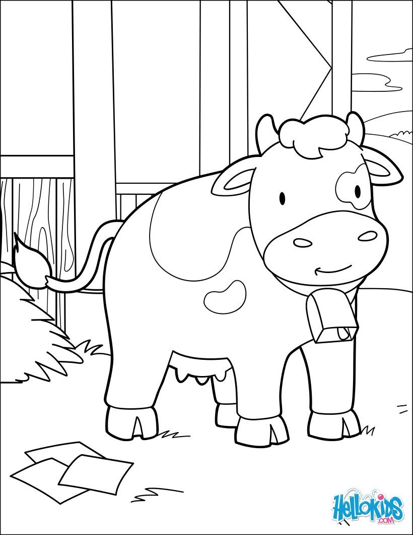 Coloriage : La vache à la grange