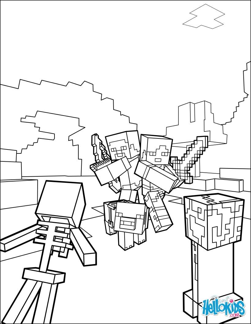 Coloriages Combattez Tous Les Mobs Dans Minecraft