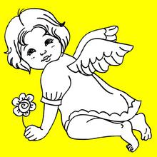 Coloriage Ange à la fleur