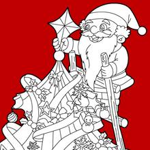 Papa Noël en haut du sapin à imprimer