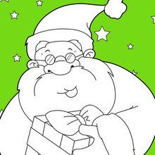 Coloriage : Père Noël souriant