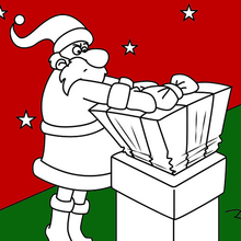 Coloriage : La livraison des cadeaux de Noël