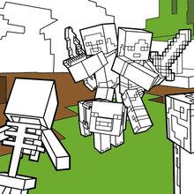 Coloriage : Combattez tous les Mobs dans Minecraft