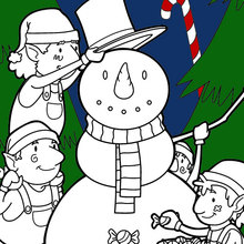 Coloriage : Elfes construisant un bonhomme de neige pour Noël