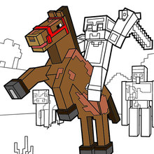 Coloriage : Ride a horse to the Minecraft Horizon