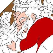 Coloriage Petit papa Noël et listes