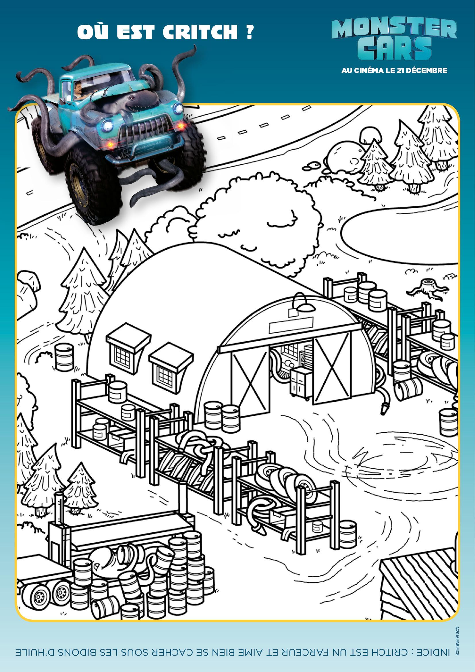 Coloriage Monster Cars - Où est Critch ?
