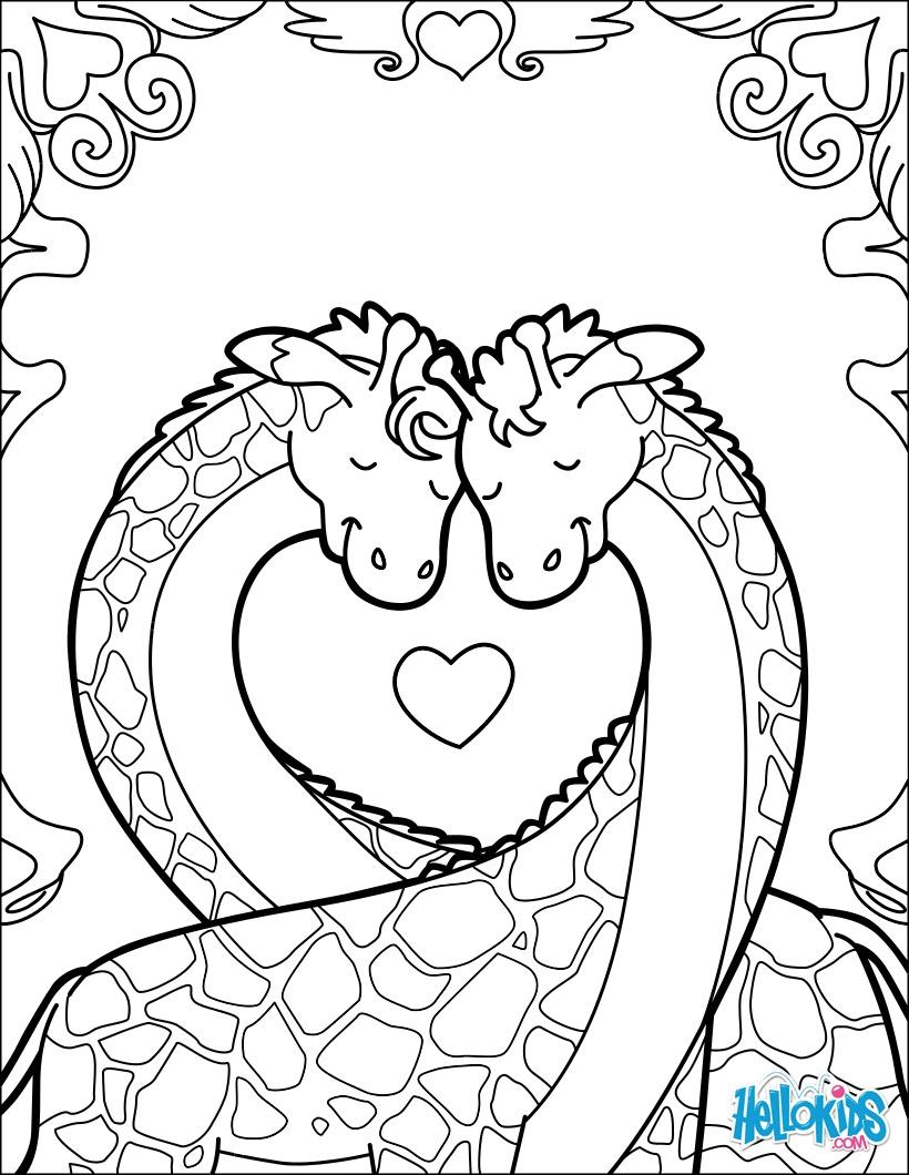 Coloriages girafe saint valentin - Coloriage de girafe ...