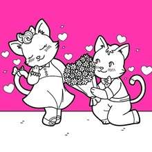 Chats Saint Valentin Coloriage