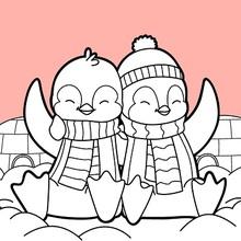 Pingouins Saint Valentin Coloriage
