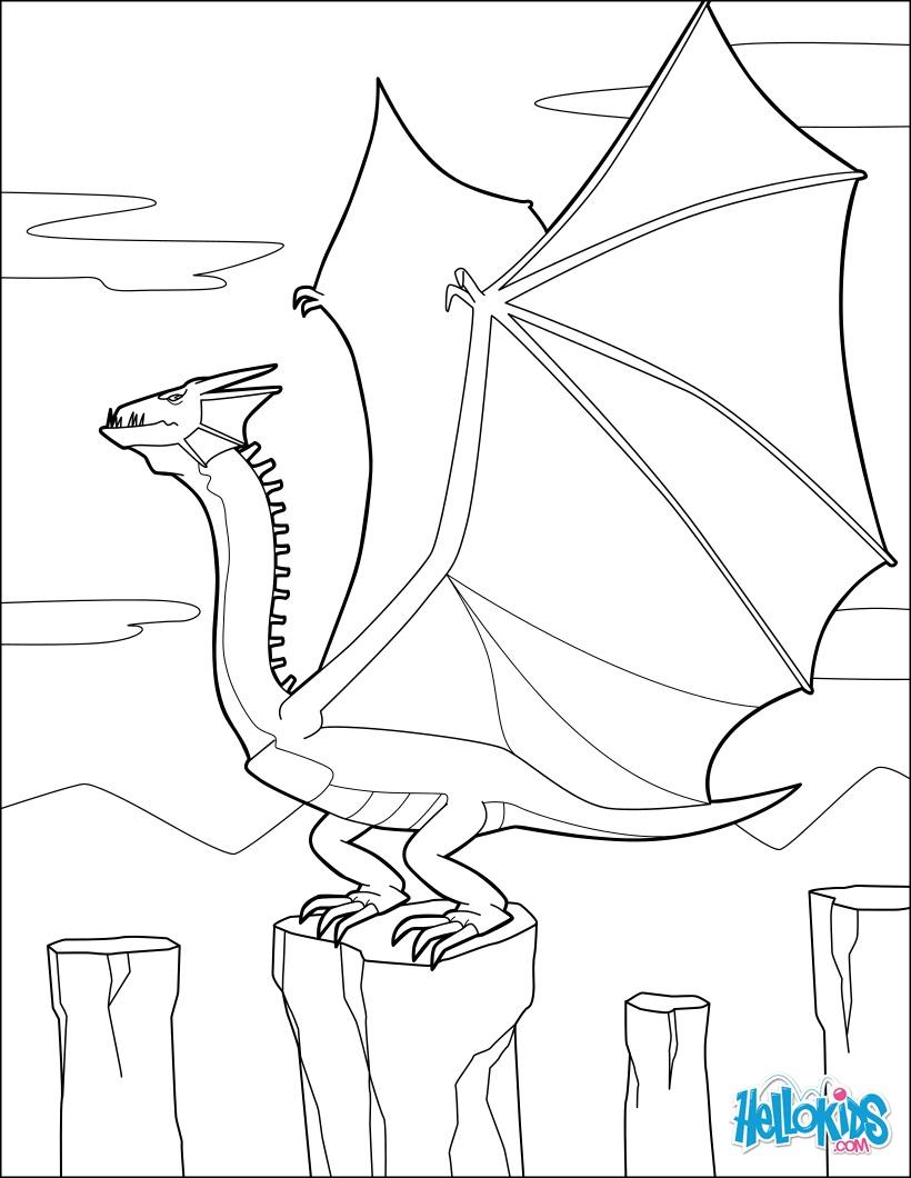 Coloriage : Dragon aux grandes ailes