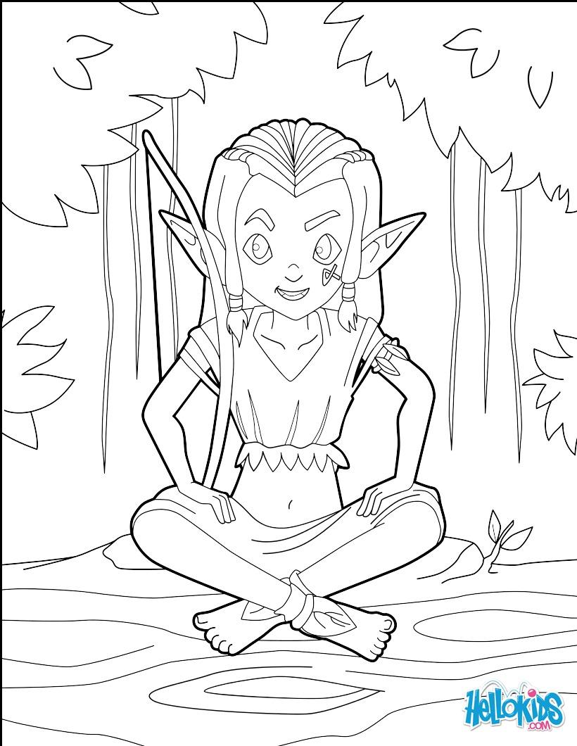 Coloriage : Archer Elfe enfant