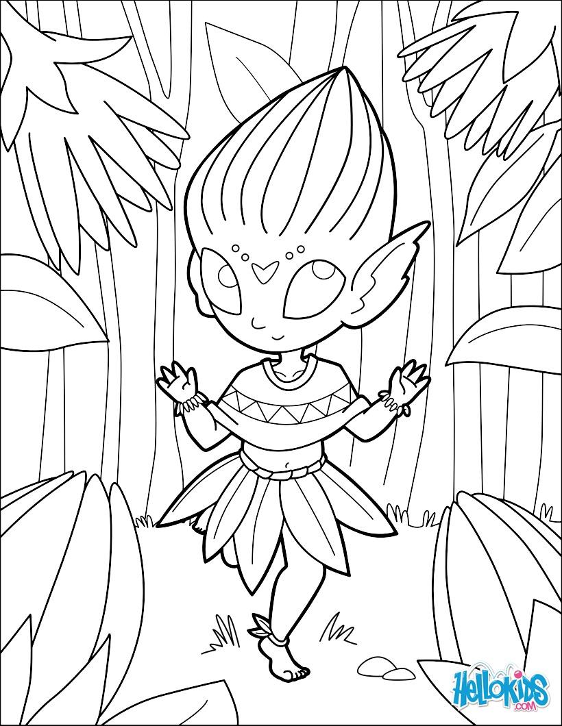 Coloriage : Elfe des fleurs
