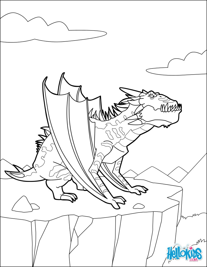 Coloriage : Dragon de nuit