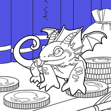 Coloriage : Dragon miniature