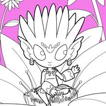 Coloriage : Elfe de la fleur