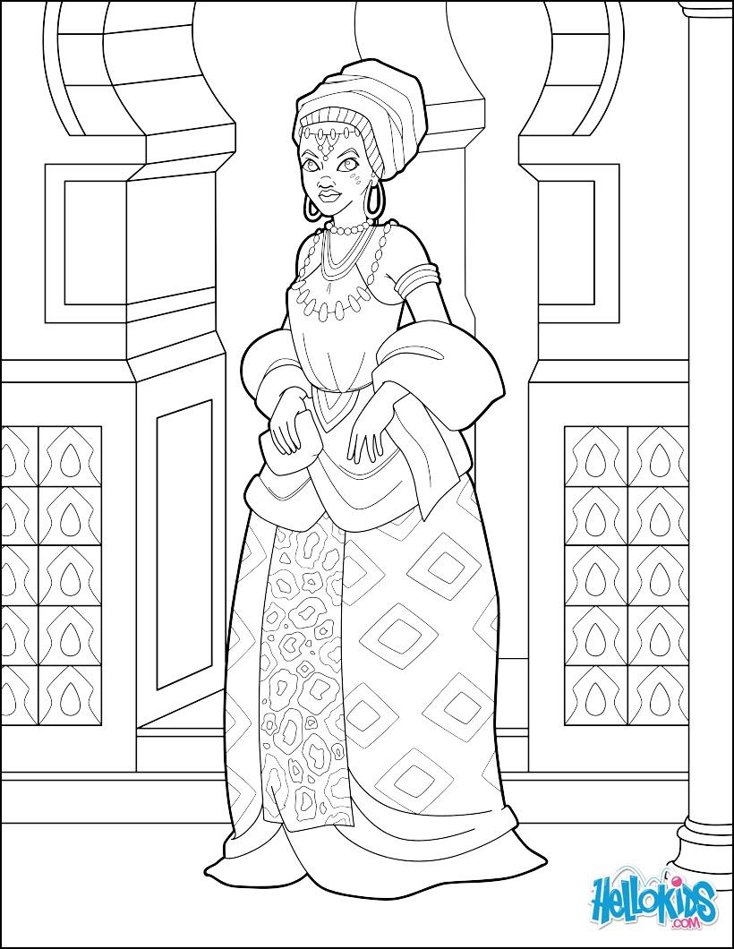 Coloriage : Princesse Africaine