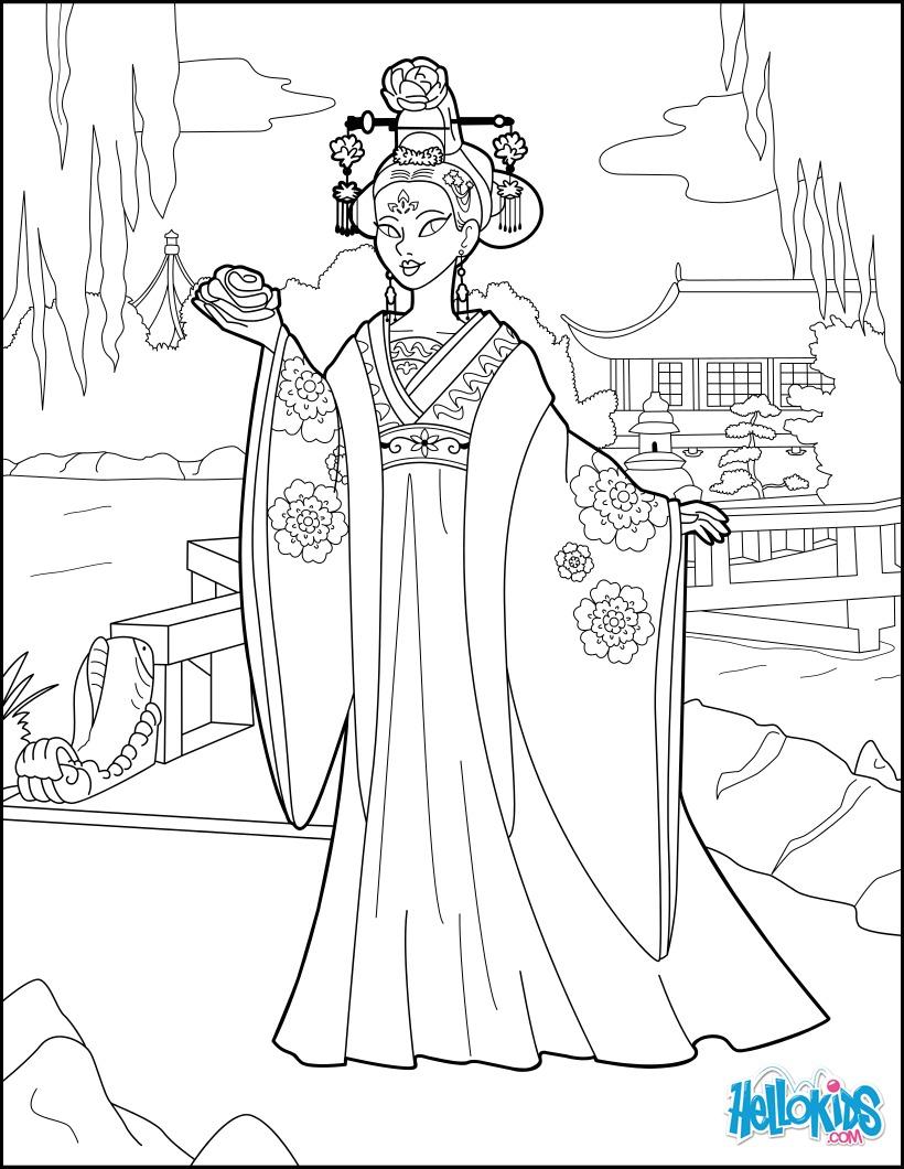Coloriage Princesse Chinoise.Coloriages Princesse Chinoise Fr Hellokids Com