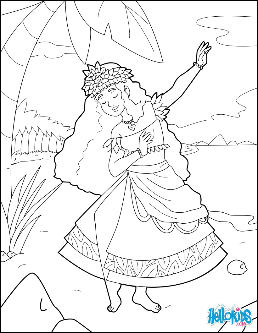 Coloriages princesse hawaienne - Coloriage hawaienne ...