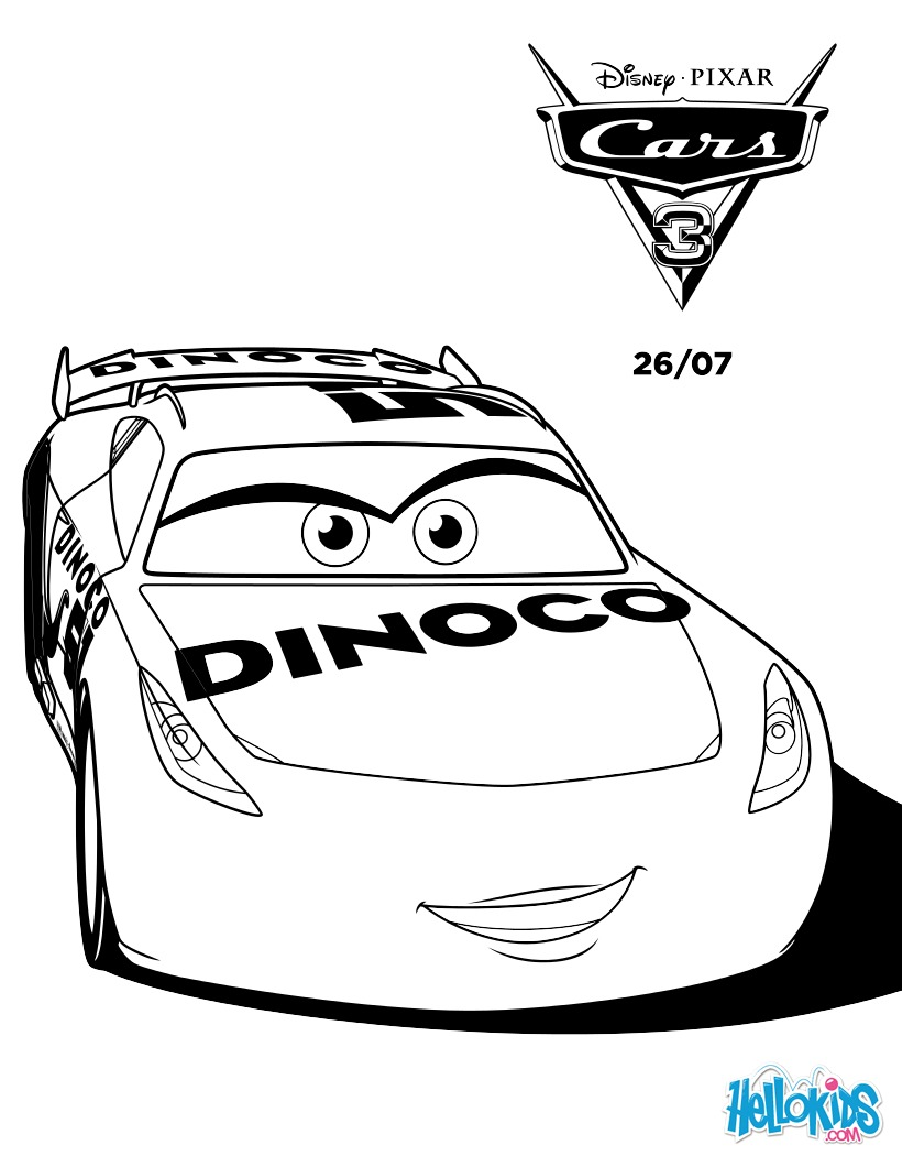 Coloriages cars 3 cruz ramirez dinoco - Car coloriage ...