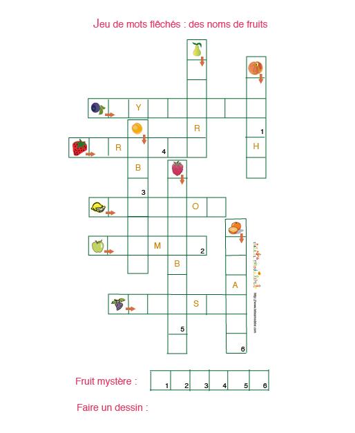 Contes pour enfants mots crois s les fruits lire fr for Cuisine americaine mots croises