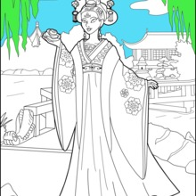 Coloriage : Princesse Chinoise