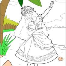 Coloriage : Princesse Hawaienne