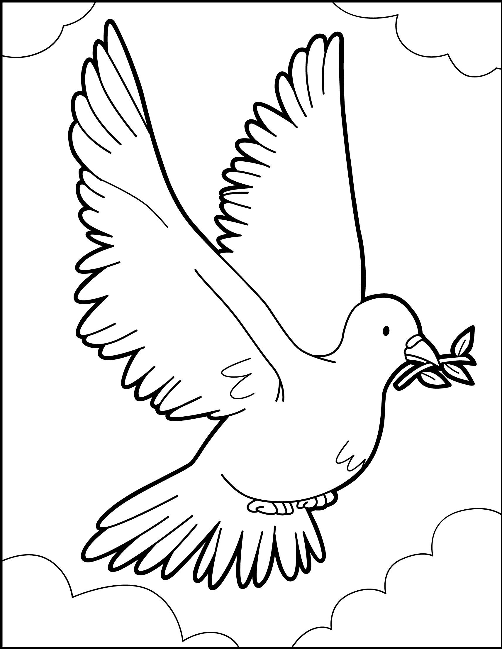 Coloriage : Le vol du Pigeon de la Paix
