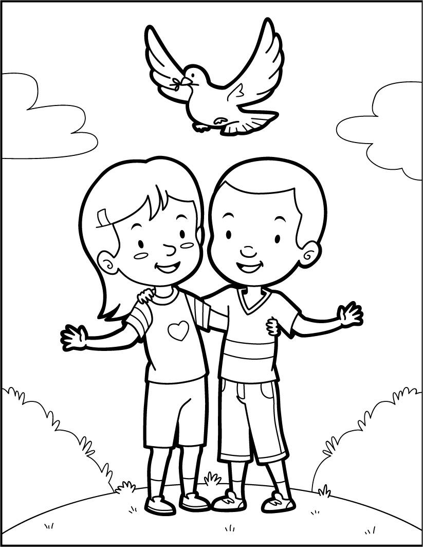 Coloriages amis et une colombe de la paix - Coloriage colombe ...