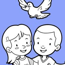 Amis et une colombe de la paix