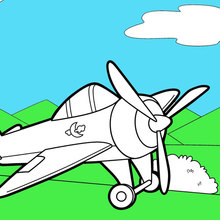 Coloriage : Avion sur la piste d'atterrissage