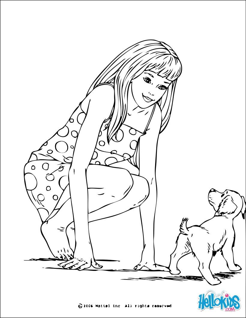 Coloriage Barbie : Barbie et un petit chien