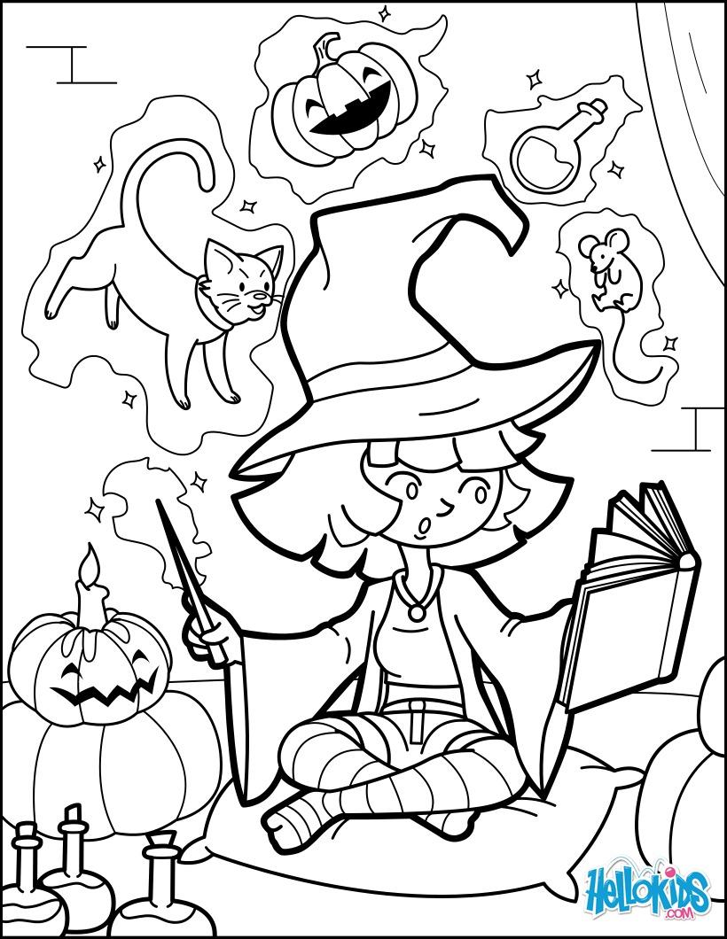Coloriage d'Halloween : La petite sorcière d'Halloween pratique la magie