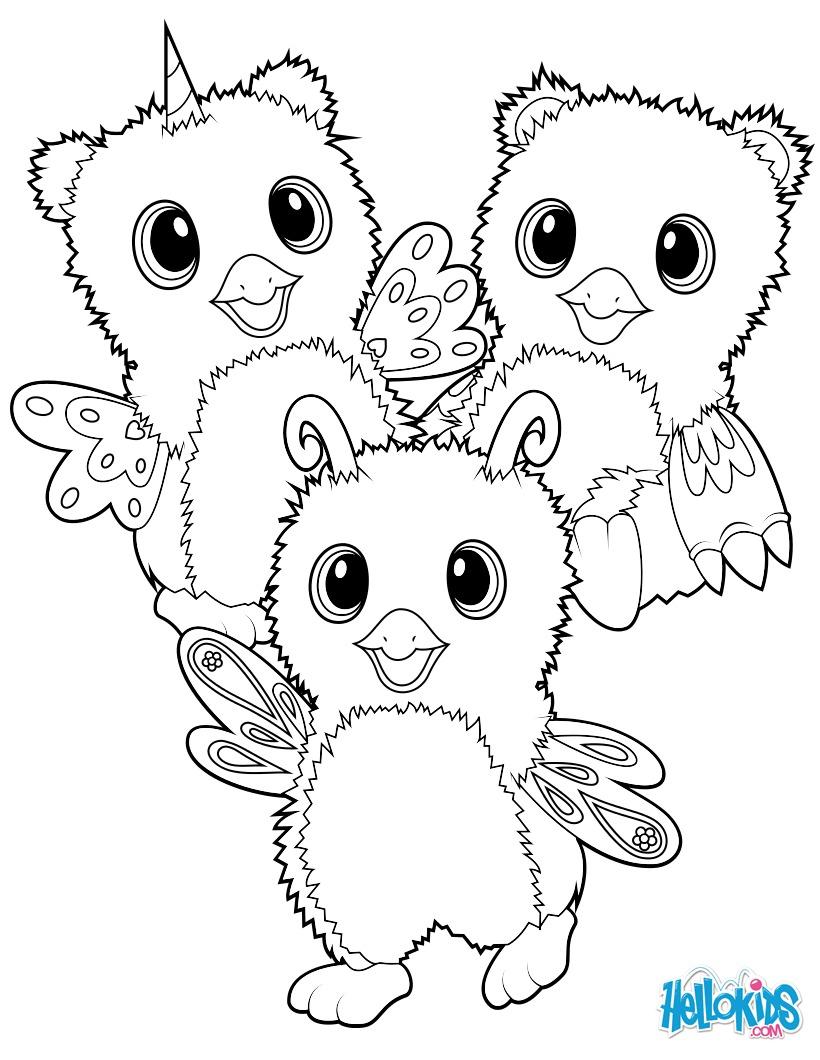 Coloriage : Hatchimals Burtle, Owlicorn et Bearakeet