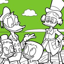 Coloriage Disney : Donald Duck et Riri, Fifi et Loulou avec Balthazar Picsou