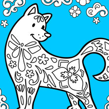 Coloriage : Le chien célèbre le Nouvel An Chinois