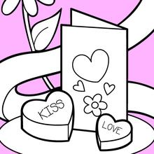Coloriage : Carte et chocolats pour la Saint-Valentin