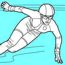 Coloriage : Patineur de vitesse sur piste courte