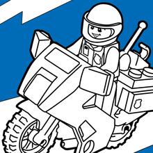 Coloriage : Moto de police Lego