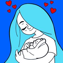 Coloriage coeur de maman