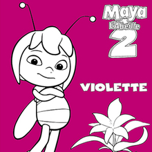 Coloriage : Violette devant une fleur