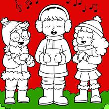 Coloriage : Les enfants chantent à Noël